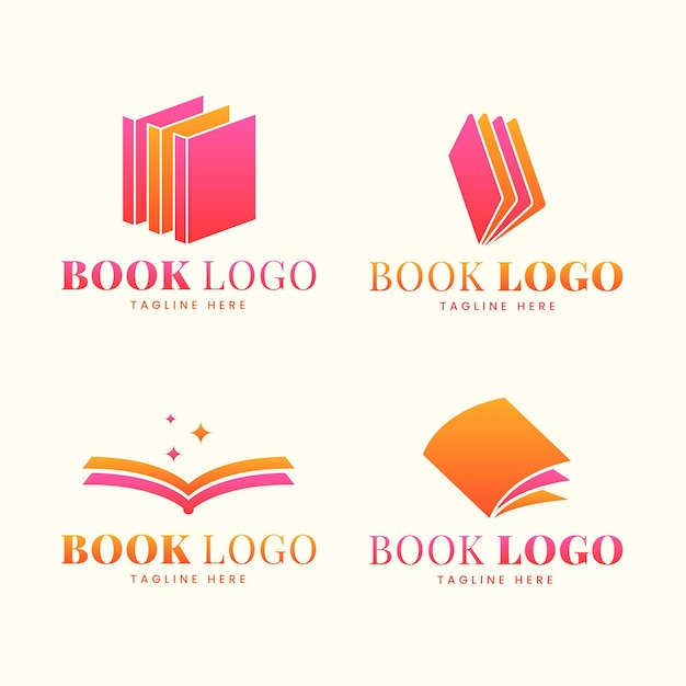 Flat design book logo set Free Vector