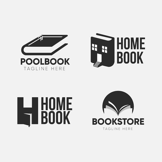 Flat design book logo set Free Vector