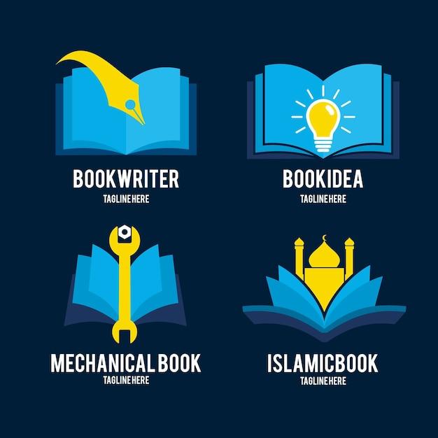 Коллекция шаблонов логотипов книги в плоском дизайне Premium векторы