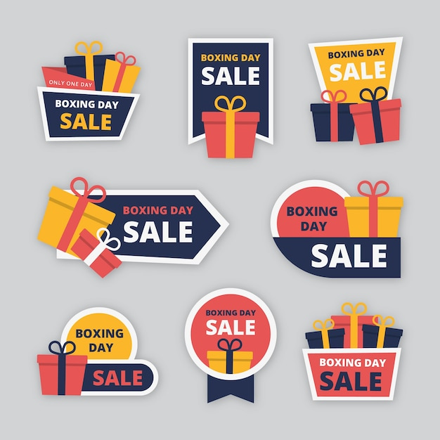 Flat design boxing day sale badge collection Free Vector