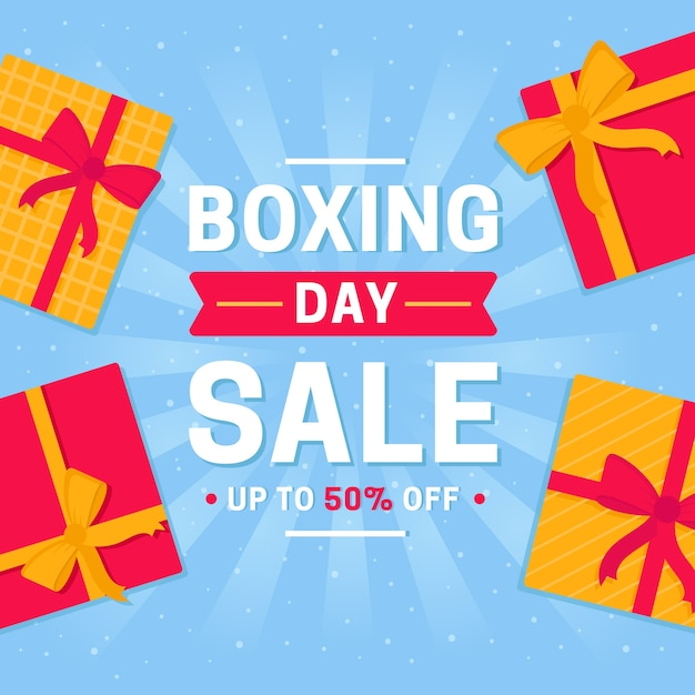 Flat design boxing day sale banner Free Vector
