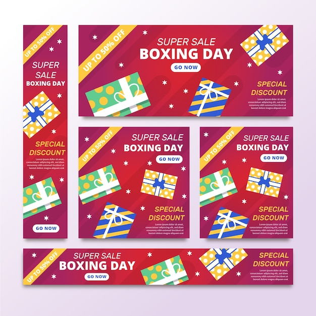 Flat design boxing day sale banners template Free Vector