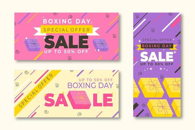 Плоский дизайн шаблона продажи баннеров дня бокса Бесплатные векторы