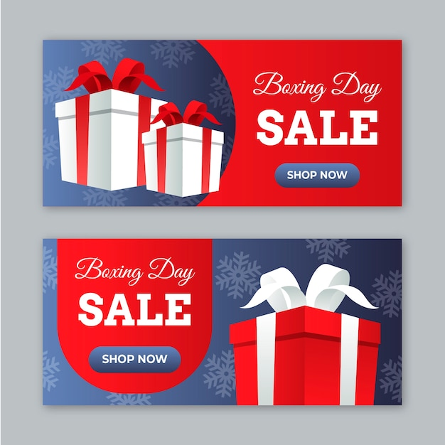 Flat design boxing day sale banners Free Vector