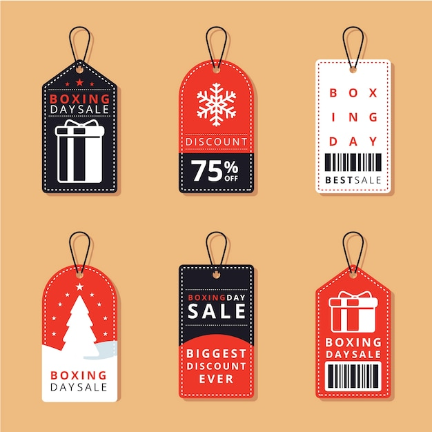Flat design boxing day sale label collection Free Vector