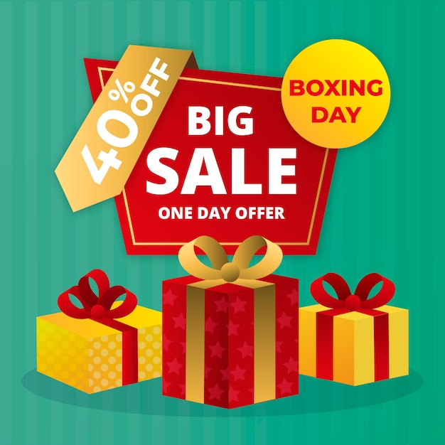 Flat design boxing day sale with 40% off Free Vector
