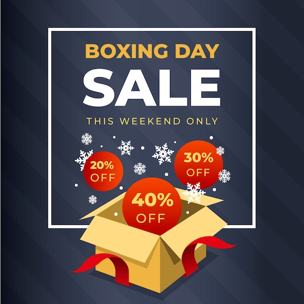Flat design boxing day sale with discount Free Vector