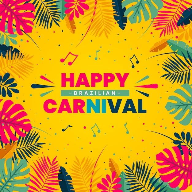 Плоский дизайн концепции бразильского карнавала Premium векторы