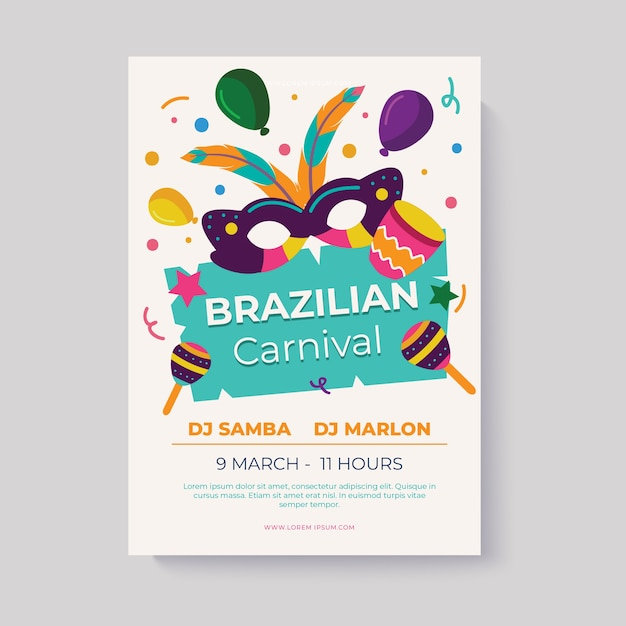 Flat design brazilian carnival flyer template Free Vector