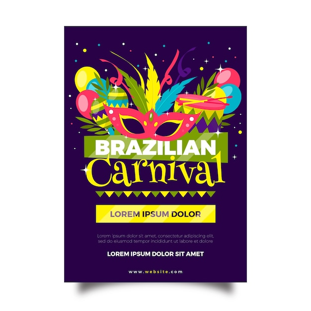 Flat design brazilian carnival flyer with maracas Free Vector