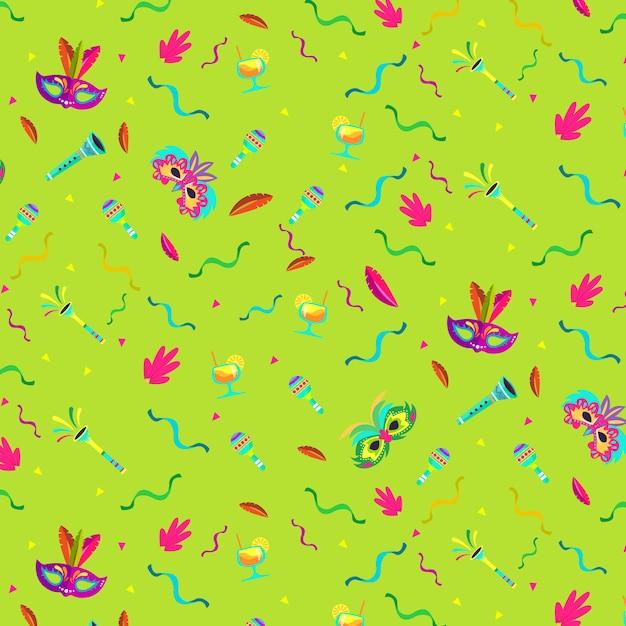 Flat design brazilian carnival pattern festive theme Free Vector