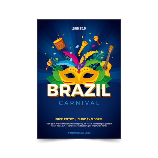 Flat design brazilian carnival poster template Free Vector