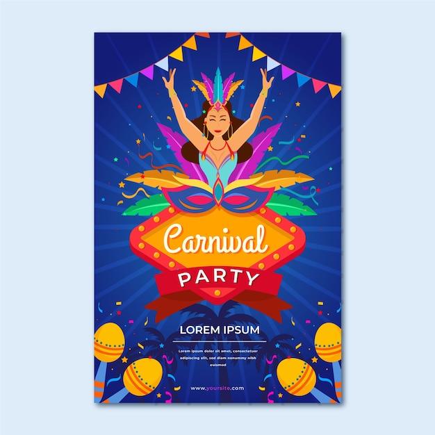 Flat design brazilian carnival poster template Vector ...