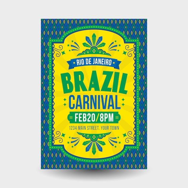 Flat design brazilian carnival poster template Free Vector