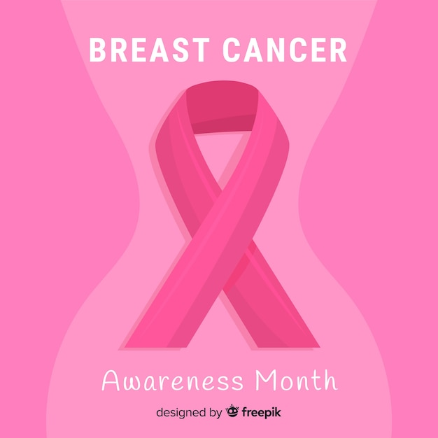 Flat design breast cancer awareness with ribbon Free Vector