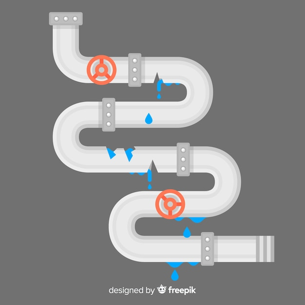 Flat design broken pipe with valves Free Vector