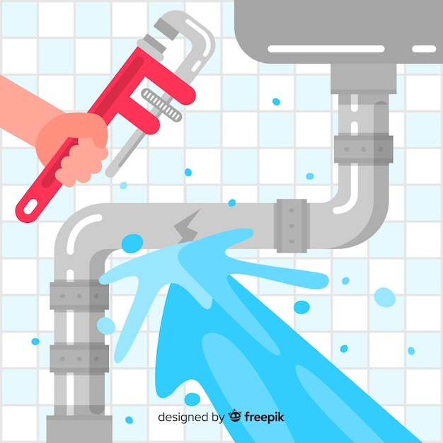 Flat design broken sink pipe Free Vector