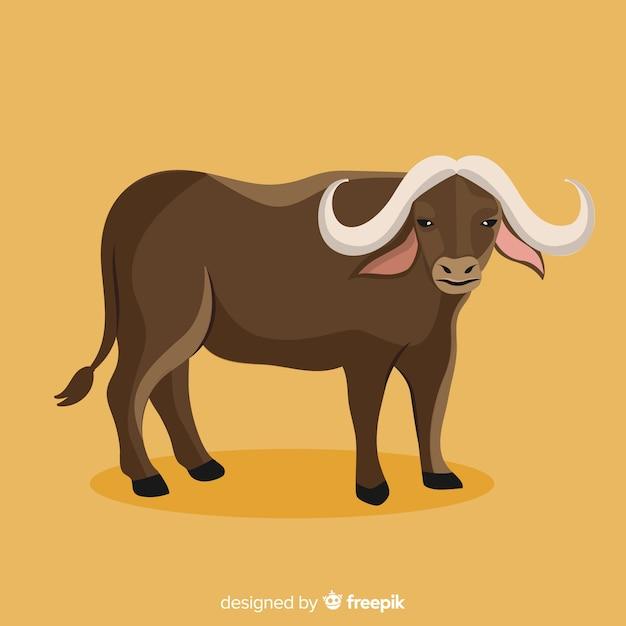 Flat design buffalo illustration Premium Vector