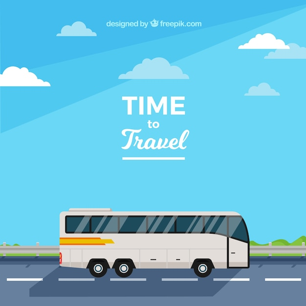 Flat design bus travel background Free Vector