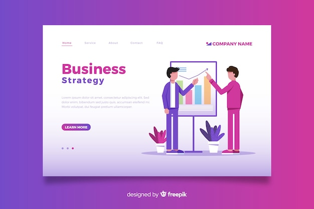 Flat design business approach landing page Free Vector
