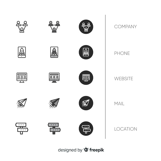 Flat-design business card icon collection Free Vector
