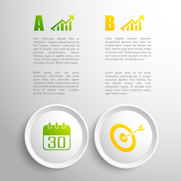 Flat design business concept with colorful elements and text field Free Vector