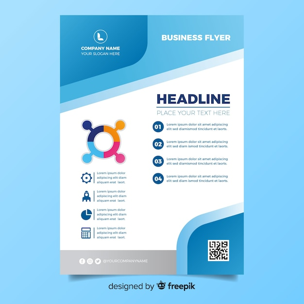 Flat design business flyer template Free Vector