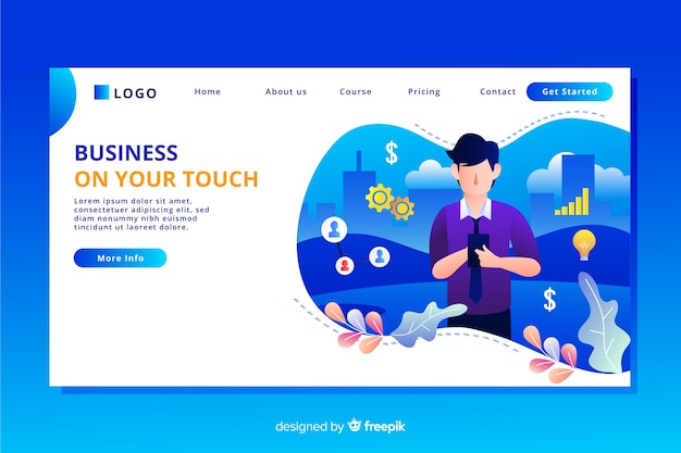 Flat design business landing page with characters Free Vector