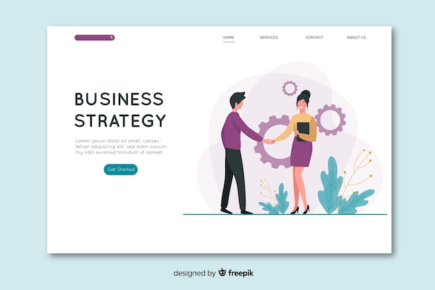 Flat design business landing page Free Vector