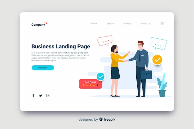 Flat design business strategy landing page Free Vector