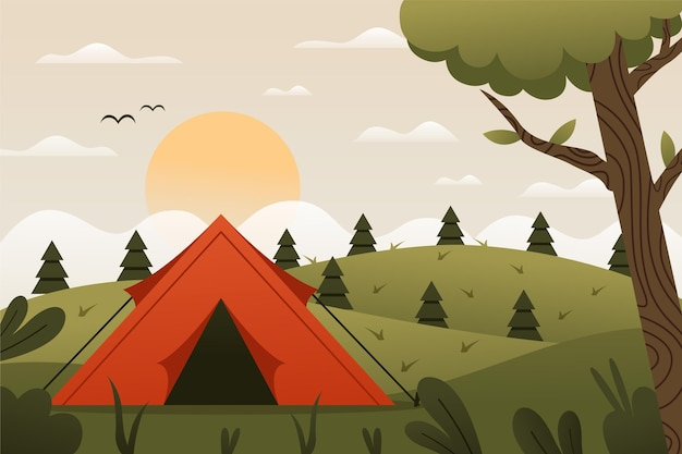 Flat design camping area landscape with tent and hills Premium Vector