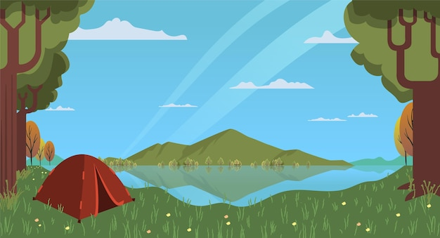 Flat design camping area landscape with tent Free Vector
