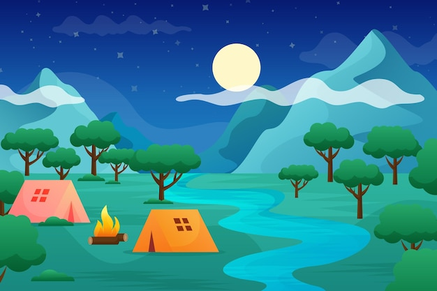 Flat design camping area landscape with tents and river Free Vector