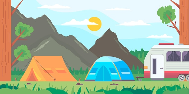 Flat design camping area landscape with tents and rv Free Vector