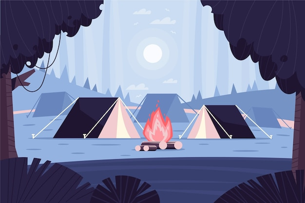 Flat design camping area landscape with tents Premium Vector