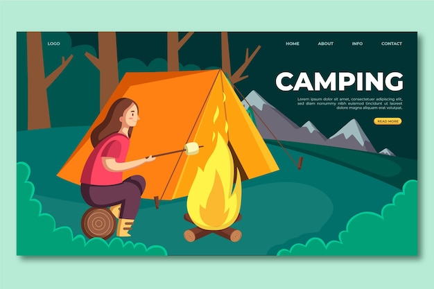 Flat design camping landing page with tent and woman Free Vector