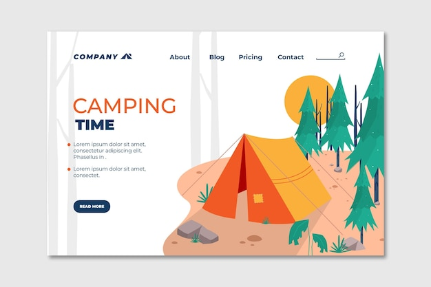 Flat design camping landing page Free Vector