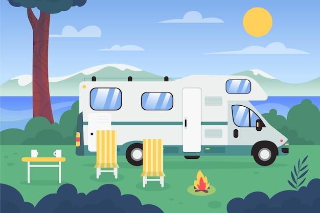 Flat design camping with a caravan illustration Premium Vector