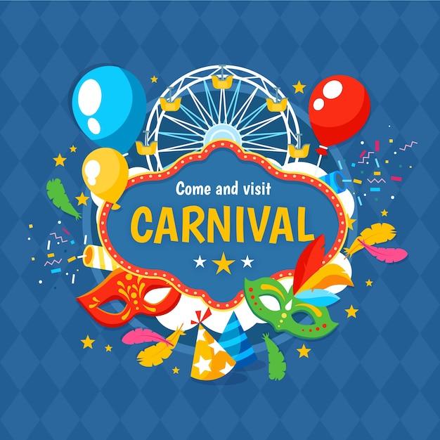 Flat design carnival day celebration Free Vector