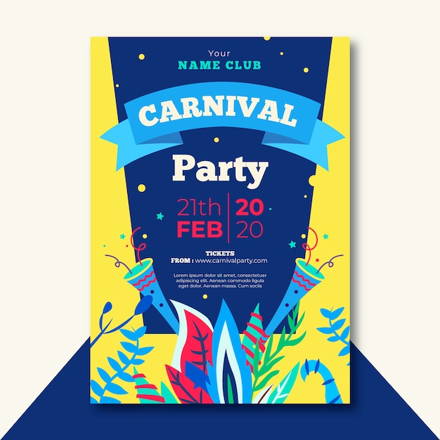 Flat design carnival party flyer template theme Free Vector