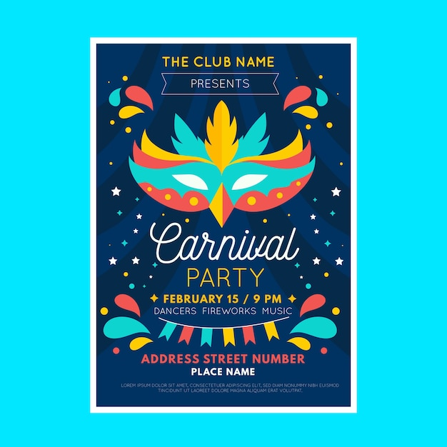 Flat design carnival party poster template | Free Vector