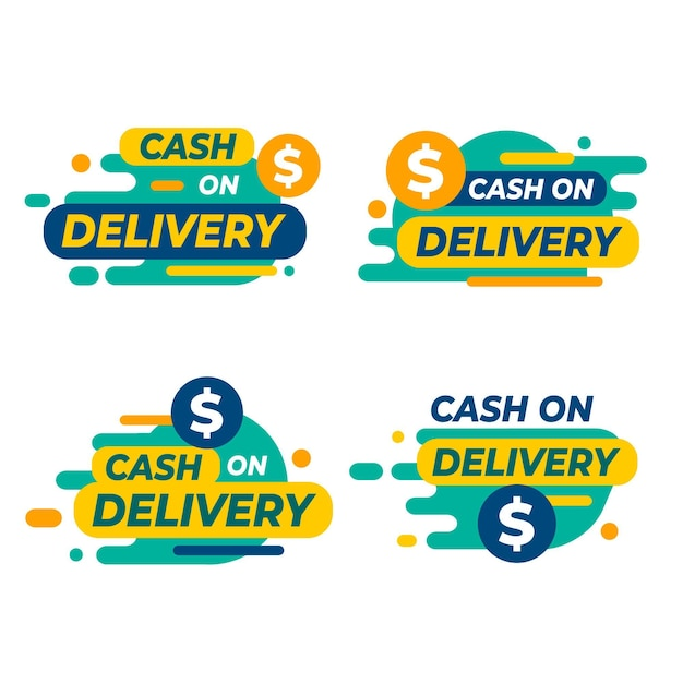 Flat design cash on delivery badge collection Free Vector