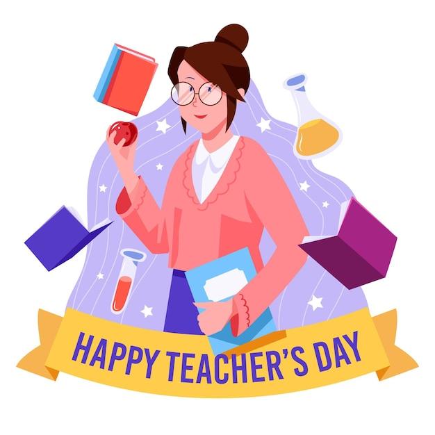 Плоский дизайн празднует день учителя Бесплатные векторы