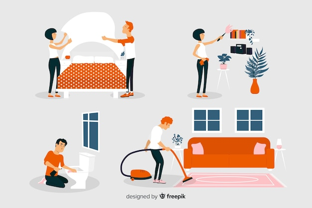 Flat design characters arranging and cleaning the house Free Vector