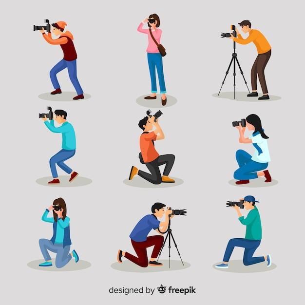 Flat design characters photographers' activities Free Vector