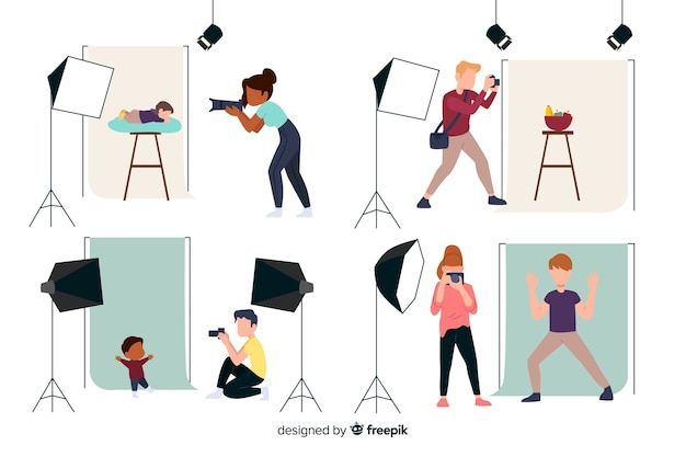 Flat design characters photographers' daily work Free Vector