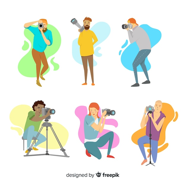 Flat design characters photographers at work Free Vector