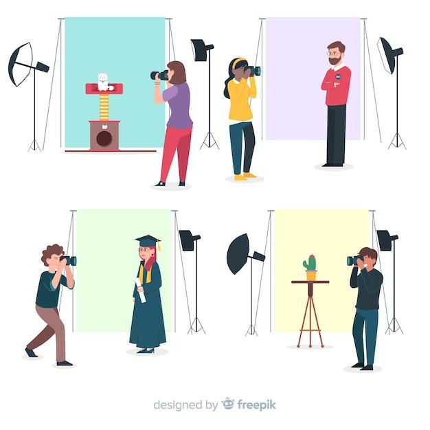 Flat design characters photographers working in studios Free Vector