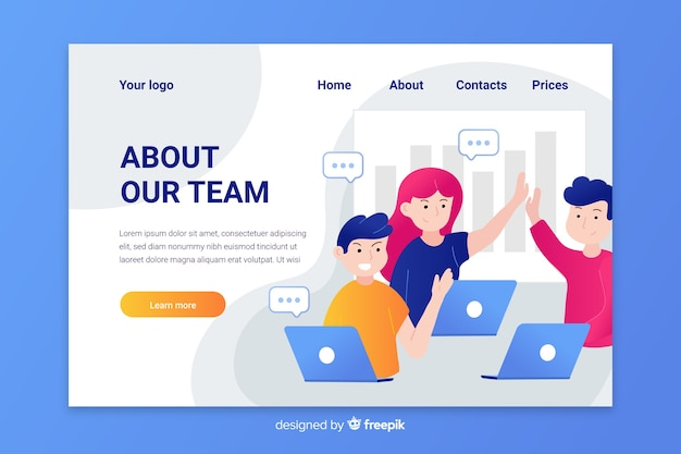 Flat design characters teamwork landing page Free Vector