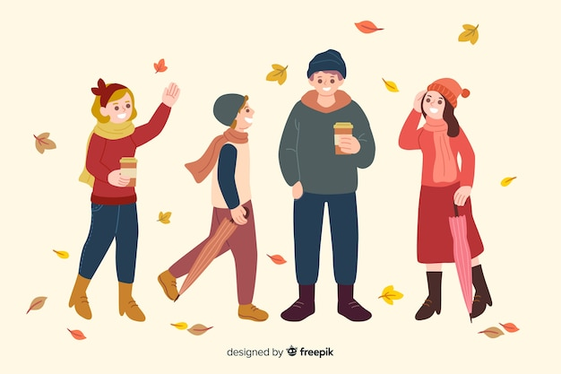 Flat design characters wearing autumn clothes Free Vector
